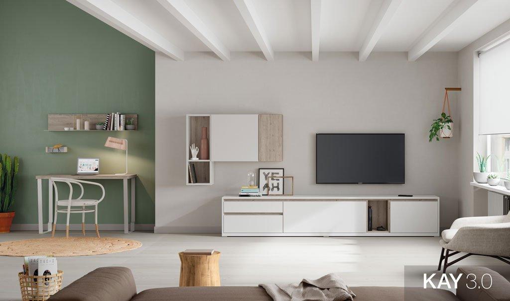 Salón moderno con una composición con mueble tv y una mesa escritorio