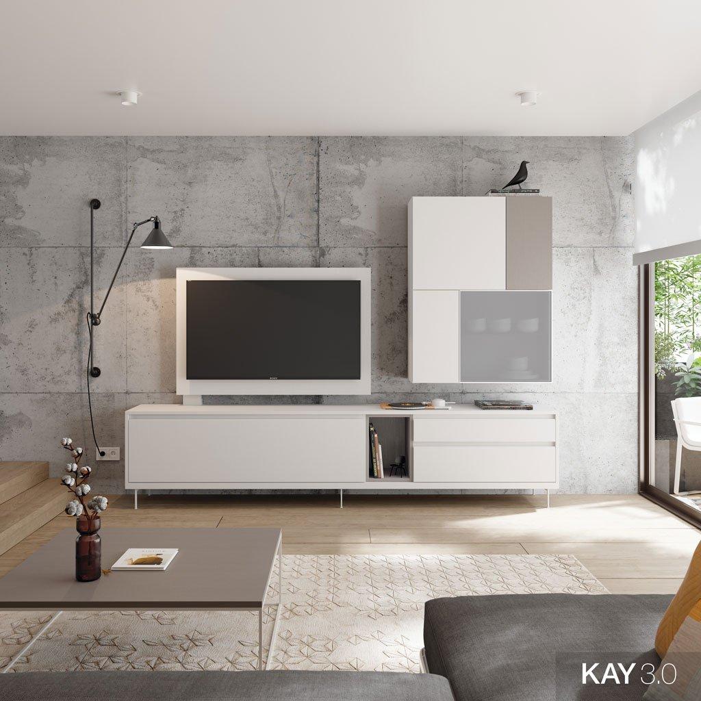 Salón moderno con el mueble TV color Blanco con módulos combinados