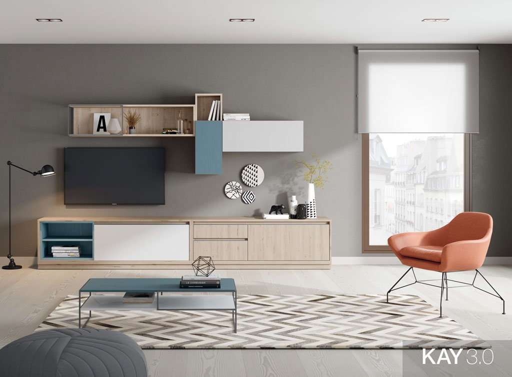 Salón moderno con muebles con cajones, puertas y estanterías colgadas a pared