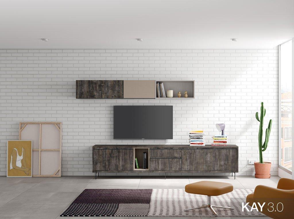 Salón moderno con muebles en color Borneo con patas metálicas