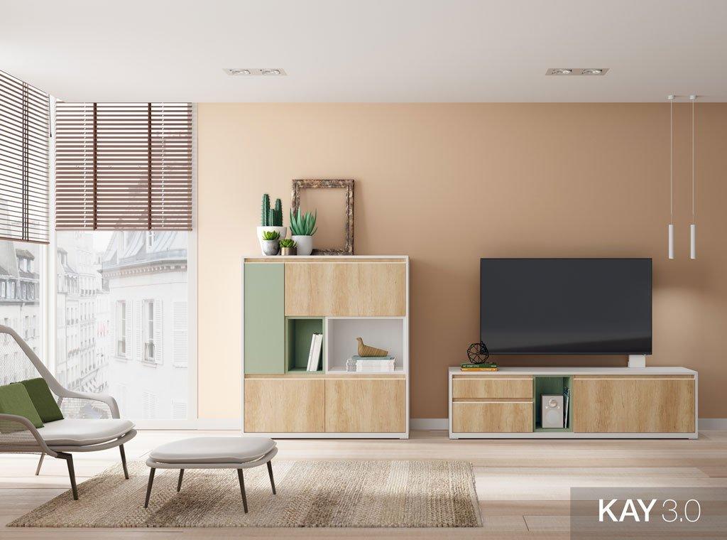 Salón con un mueble para la televisión junto al aparador con puertas y huecos