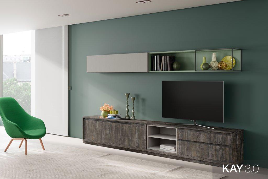 Salón con un mueble tv bajo en color Borneo y unas estanterías altas