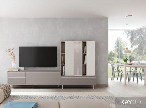 Salón moderno con un mueble tv en color Gris fumé con una vitrina vertical