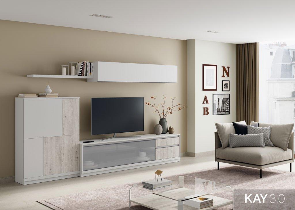 Salón con mueble tv y vitrina abatible horizontal
