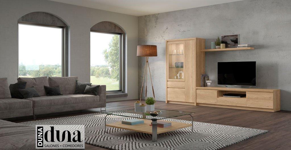 Salón con un mueble televisión con vitrina y como complemento una mesa de centro
