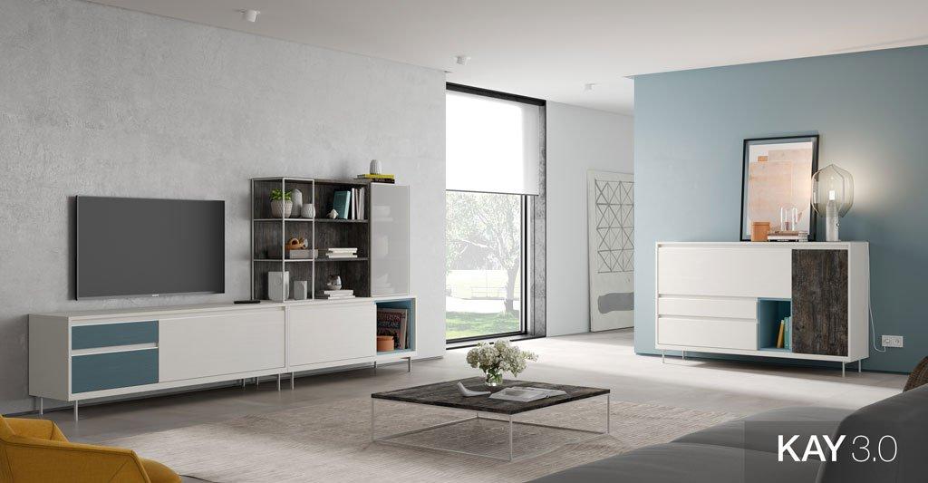 Salón con muebles de colores combinados, Blanco, Borneo y Azul Manhattan