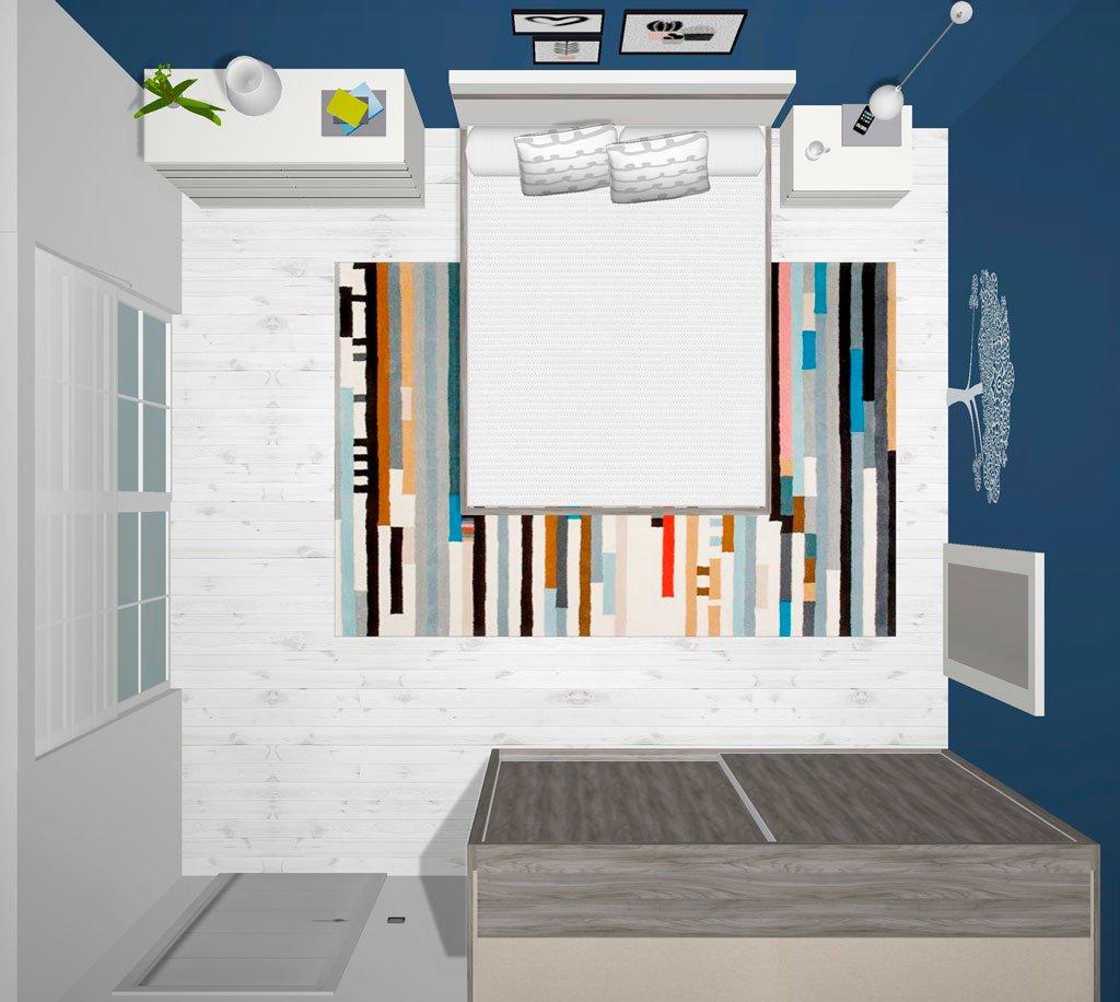 Vista superior del dormitorio de matrimonio en 3D