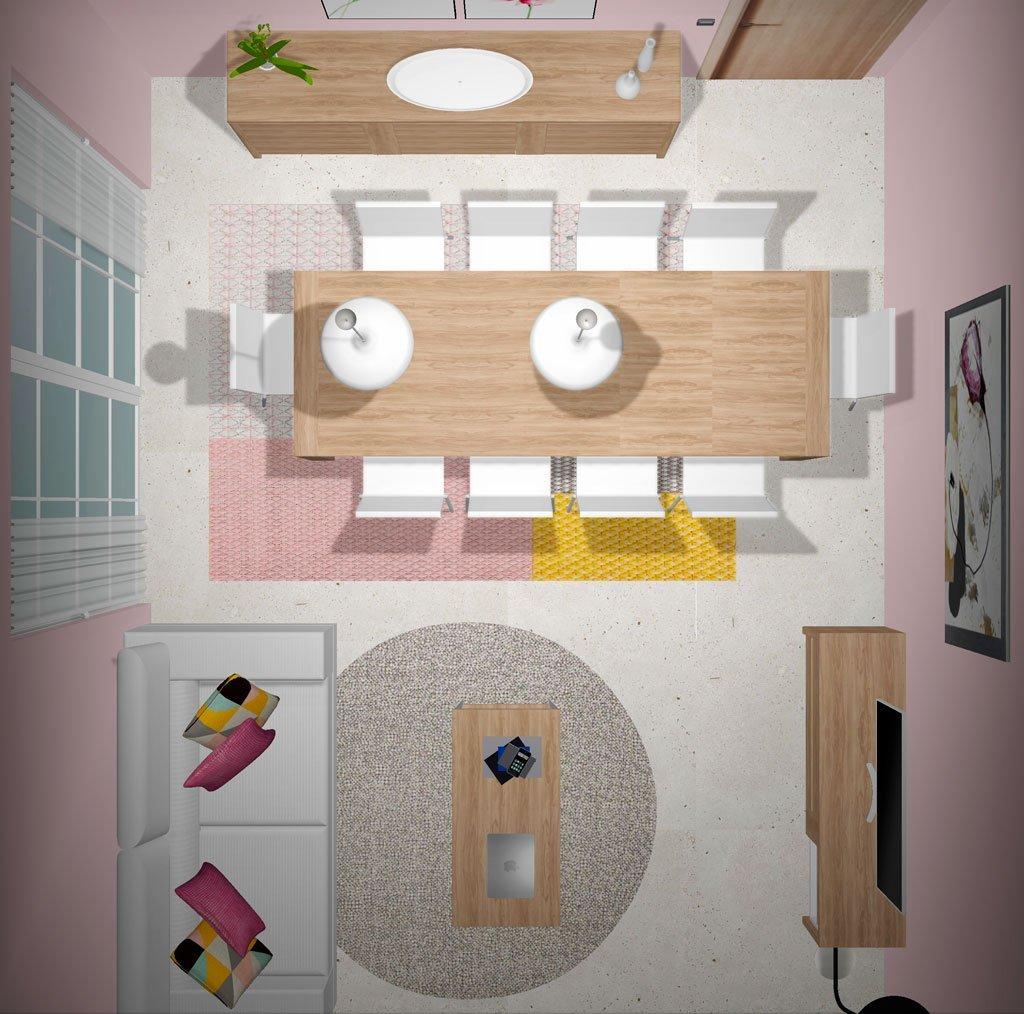 Vista superior del proyecto 3d de un salón comedor