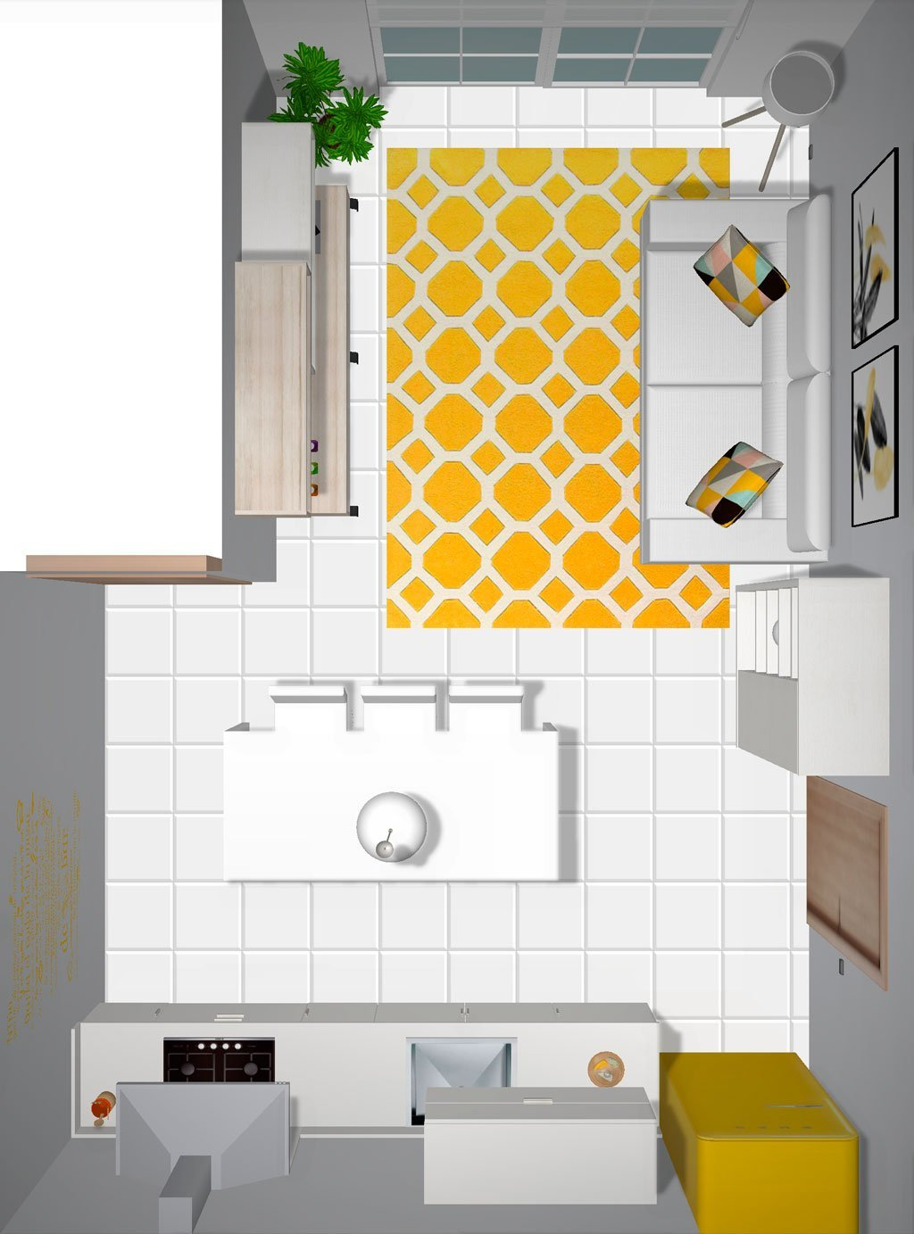 Vista superior del proyecto 3D del salón con cocina abierta