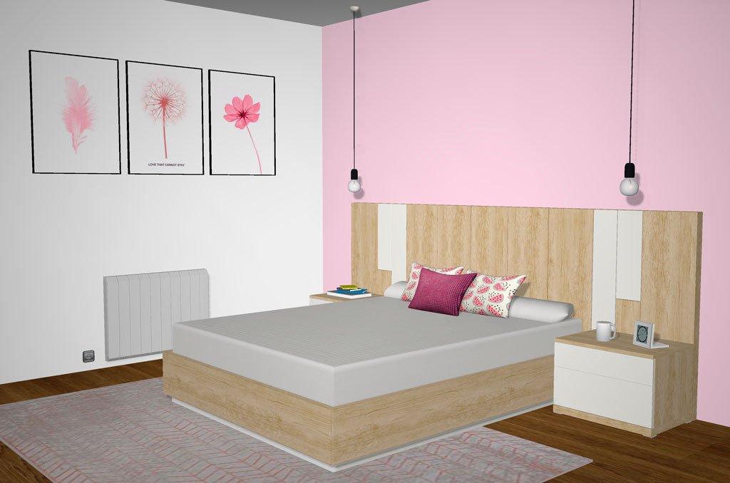 Habitación de matrimonio con los muebles de la colección Esenzia
