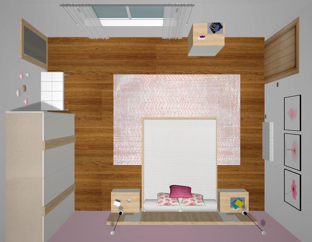 Planta del proyecto 3d de una habitación de matrimonio
