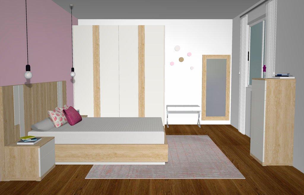 Vista lateral del mobiliario de la habitación de matrimonio