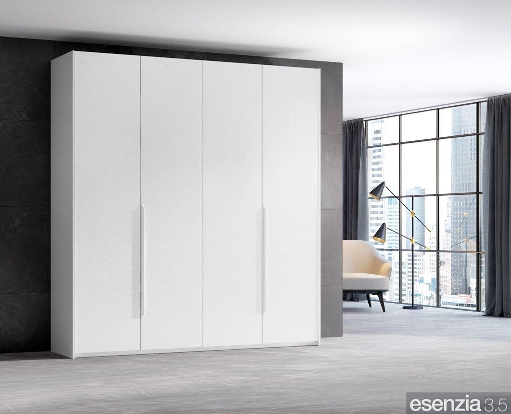 Armario color blanco de cuatro puertas batientes