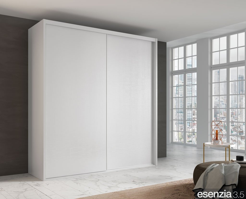 Armario color Blanco de dos puertas correderas lisas