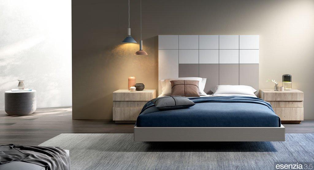 Composición de dormitorio con el cabezal de cama alto modelo Minerva
