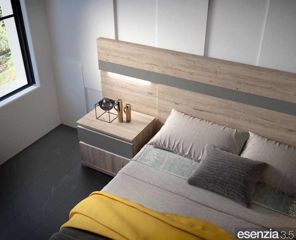 Detalle del cabecero de cama modelo California con luz led integrada