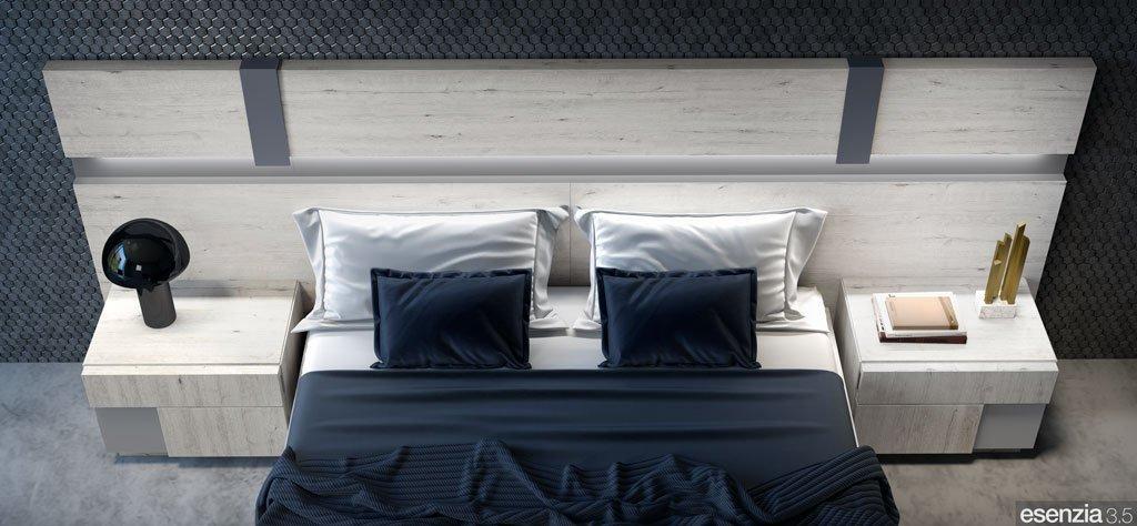 Detalle del cabecero de cama modelo Florida con colores combinados