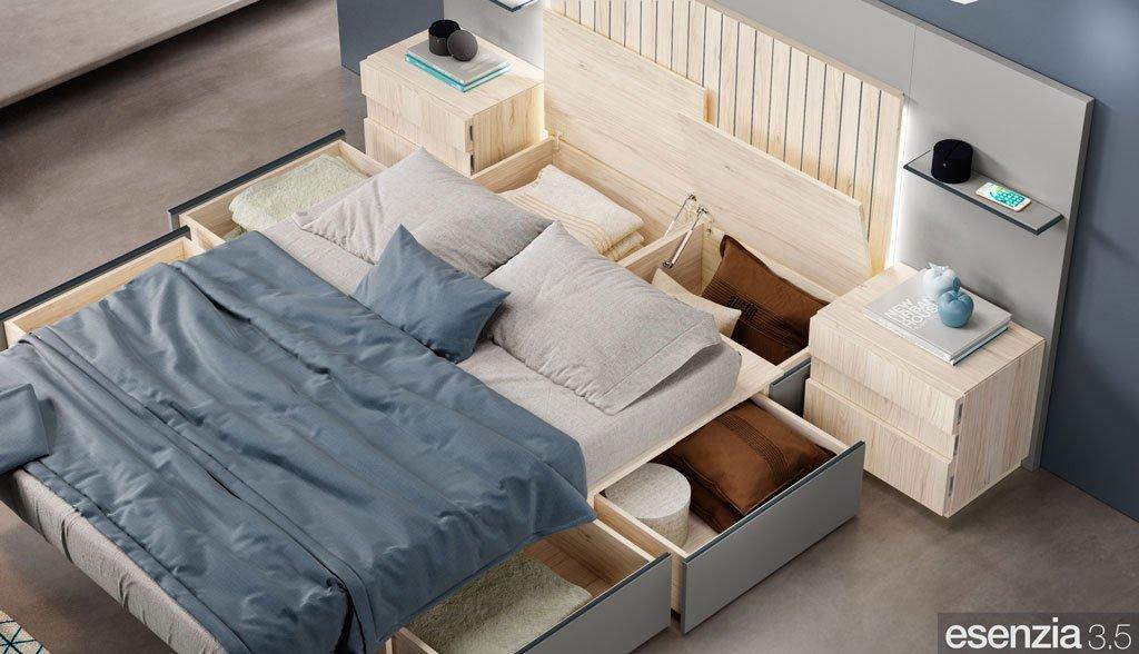 Detalle de la gran capacidad de los cajones y arcones bajo la cama