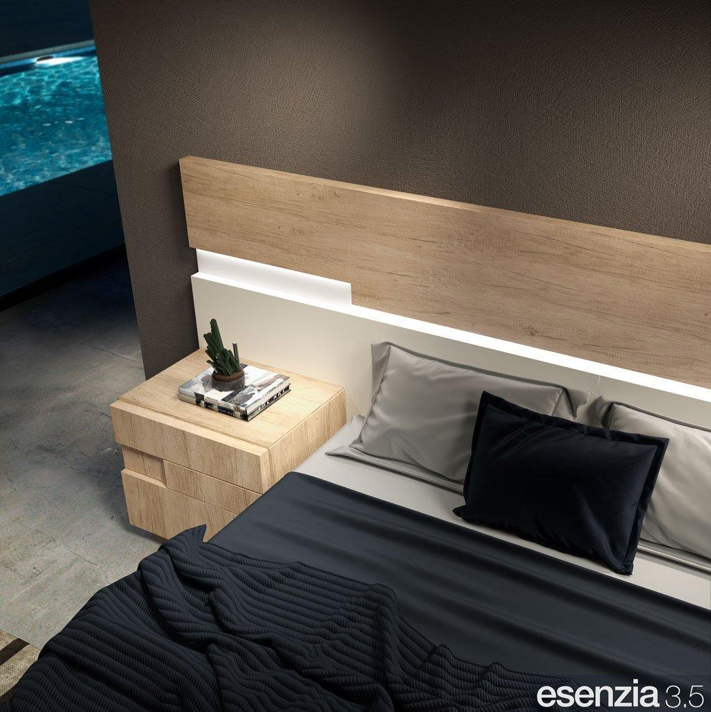 Detalle de la mesita de noche en color Teka modelo ZEN