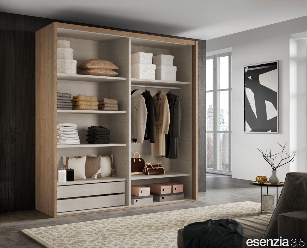 Distribución interior del armario corredero de dos puertas