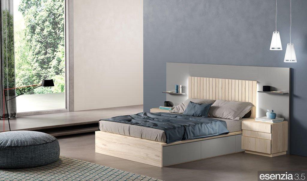 Dormitorio con el cabecero de cama modelo Daytona con estantes integrados