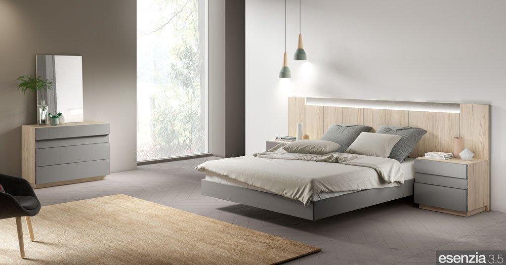 Dormitorio con el cabezal de cama modelo Tucson con luz led integrada