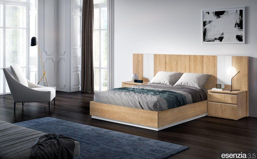Dormitorio de matrimonio que combina los colores Teka y Blanco