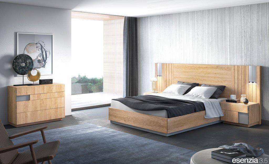 Dormitorio de matrimonio con el mobiliario en color Teka