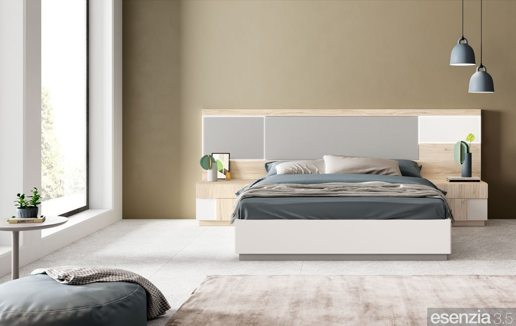 Dormitorio de matrimonio moderno con el cabezal de cama modelo Toronto