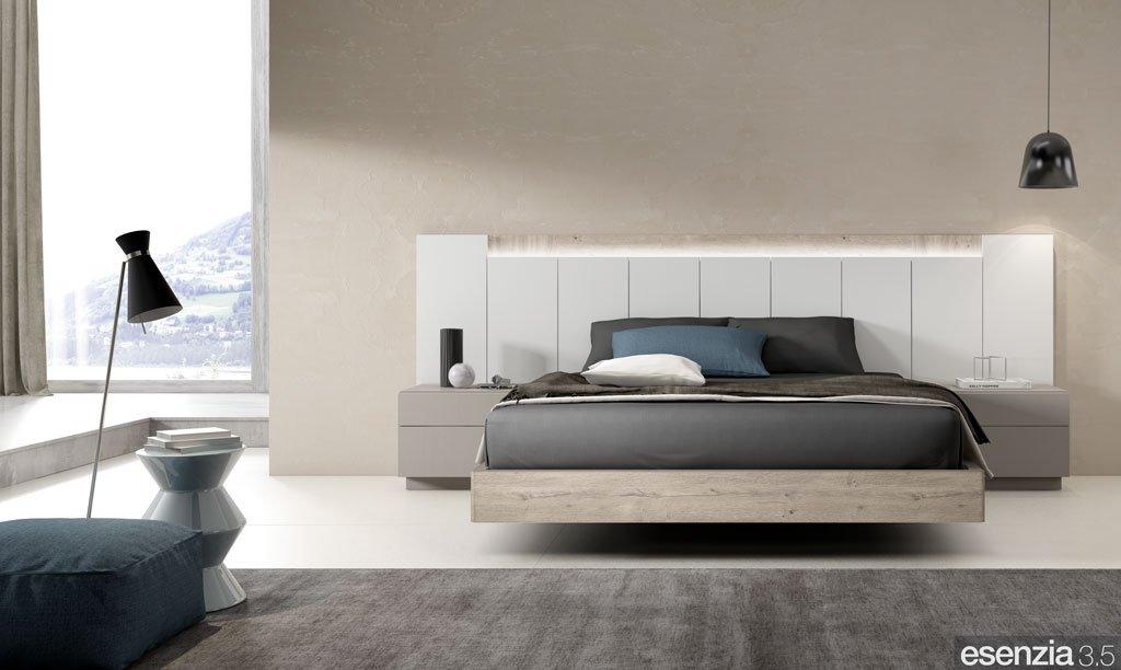 Dormitorio de matrimonio moderno con los colores Roble Rock y Blanco