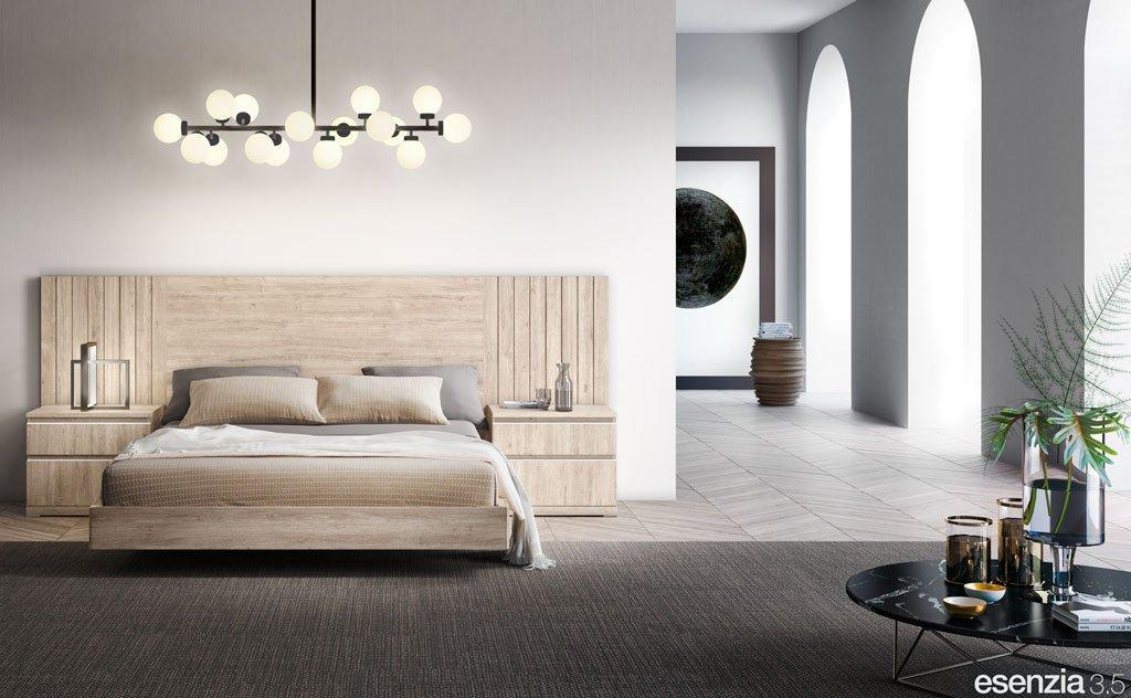Dormitorio de matrimonio con los muebles en color Roble Rock