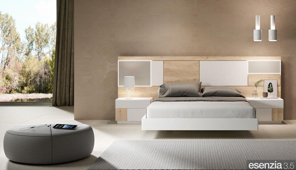 Dormitorio moderno con el aro de cama flotante modelo Vita