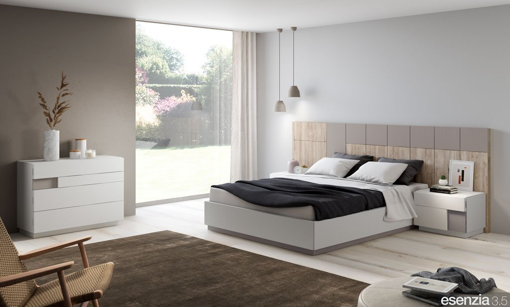 Dormitorio moderno con el cabecero de cama panelado modelo Hawai