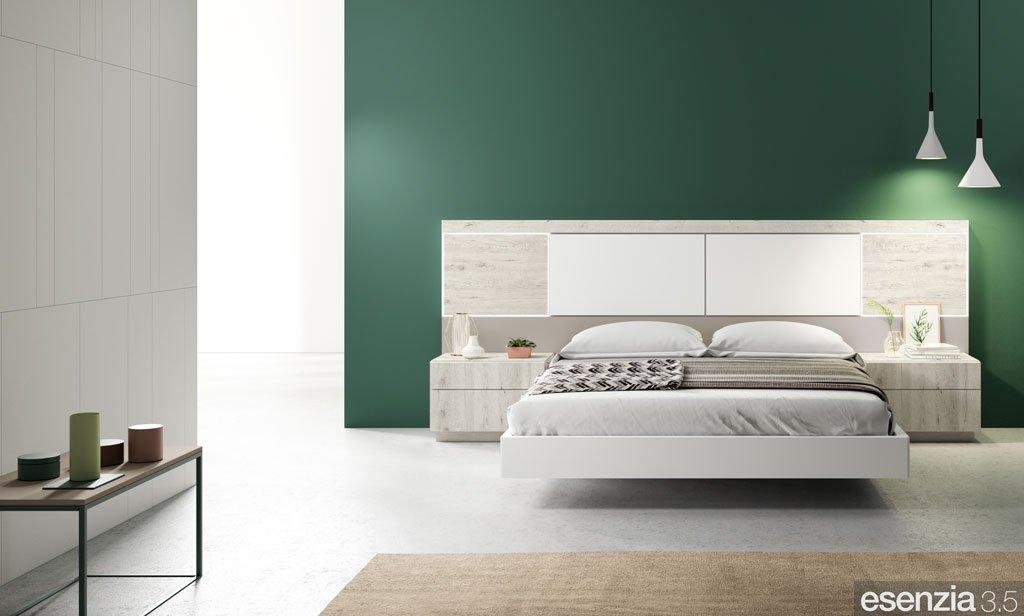 Dormitorio moderno con los muebles en color Fresno, Blanco y Avellana