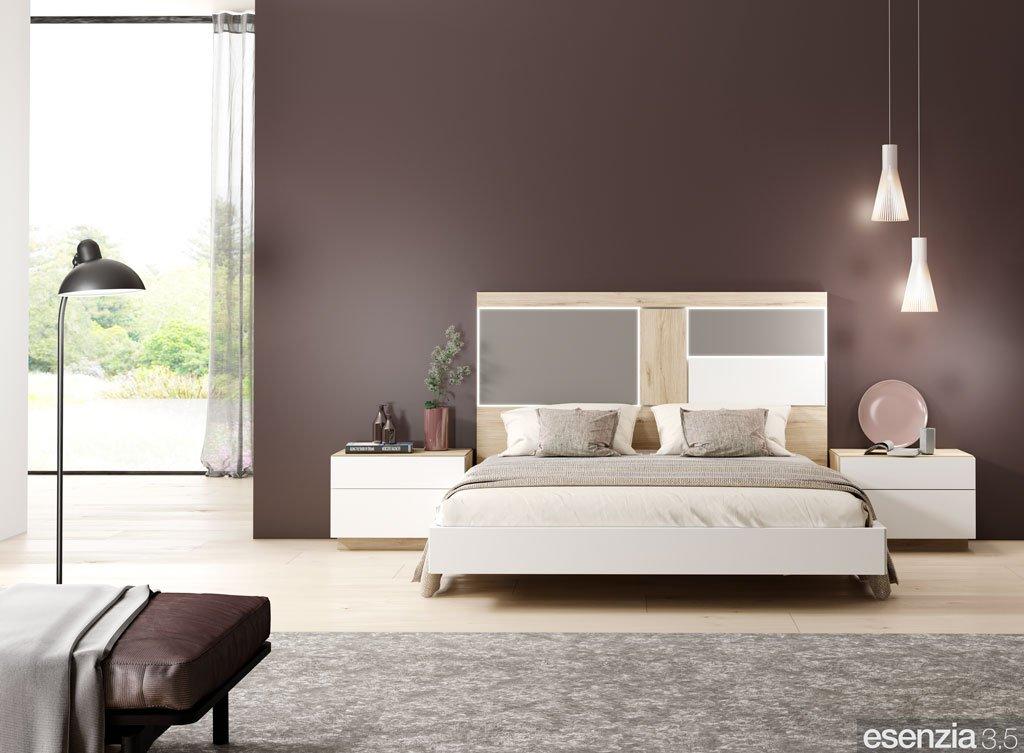 Dormitorio moderno de matrimonio con el cabecero modelo Aurora