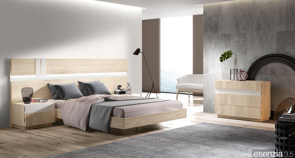Habitación con todo el mobiliario en color Bambú con detalles en Blanco