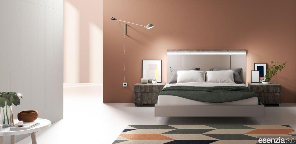 Habitación de matrimonio con el cabecero de cama modelo Bogota