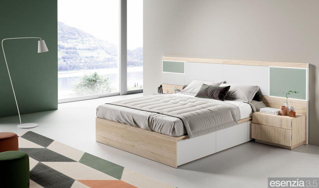 Habitación de matrimonio con el cabezal de cama modelo Panama