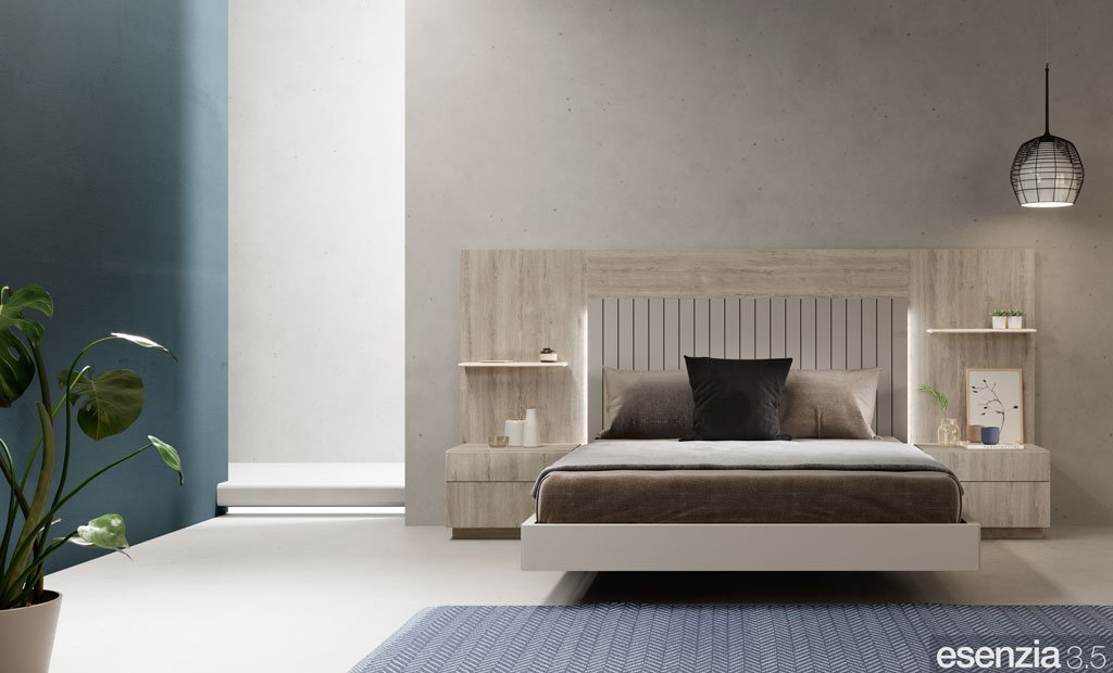 Habitación con el mobiliario en color Roble Rock