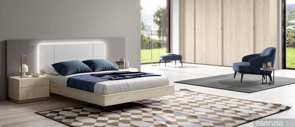 Habitación moderna con el cabecero de cama modelo Dallas con luz LED