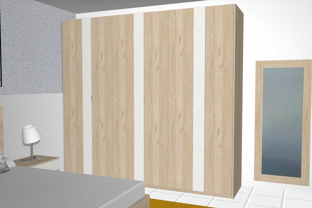 Armario de seis puertas batientes en color Bambú y Blanco