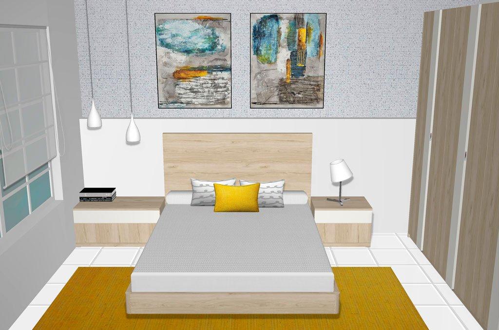 Dormitorio de matrimonio en color Bambú y Blanco