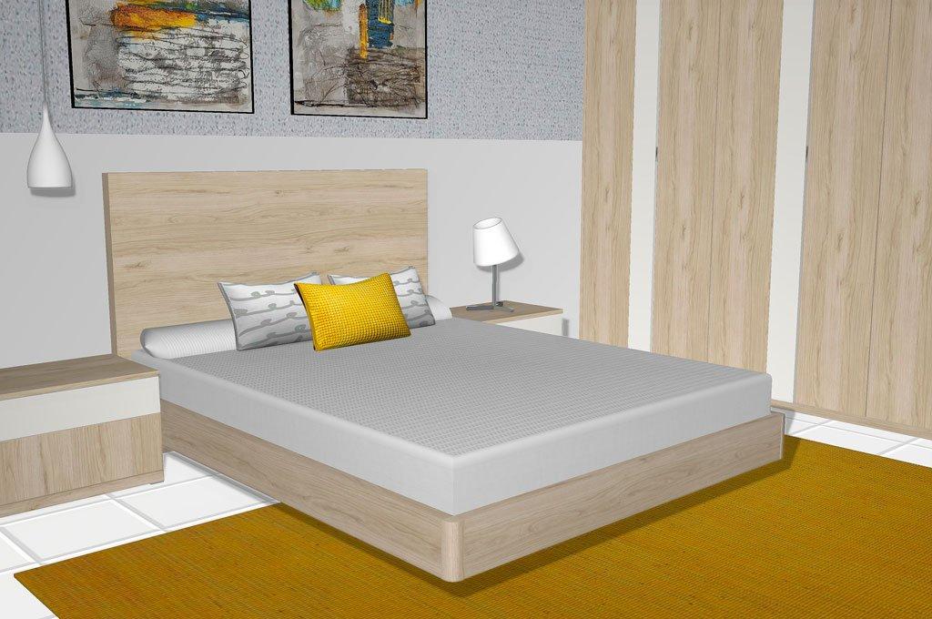 Dormitorio de matrimonio sencillo, pero con un toque muy actual
