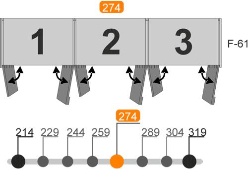 Medidas de los armarios de seis puertas batientes modelo V