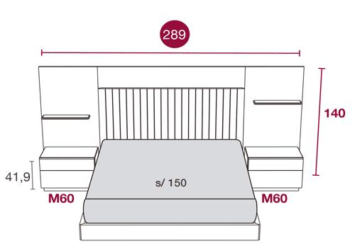 Medidas de la cama de matrimonio con el cabecero Daytona 107