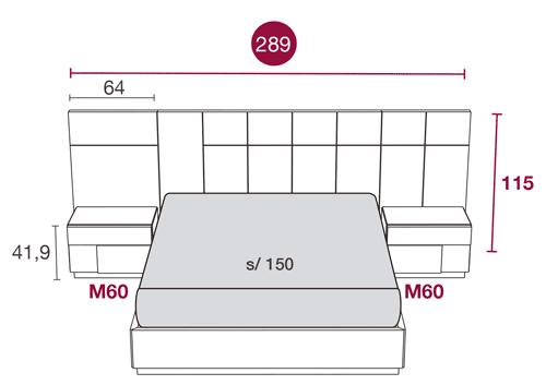 Medidas de la cama de matrimonio con el cabecero Hawai 110