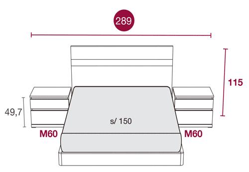 Medidas de la cama de matrimonio con el cabecero Misuri 134