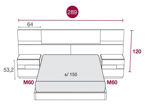 Medidas de la cama de matrimonio con el cabezal Nebraska 114