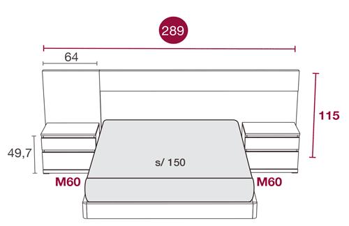 Medidas del dormitorio con el cabezal Miami 119