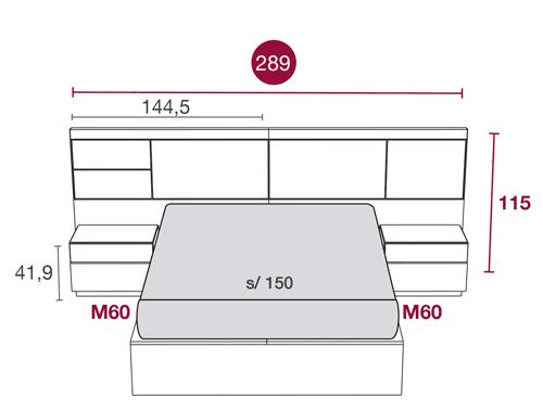 Medidas del dormitorio de matrimonio con el cabecero Panama 102